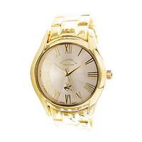 Beverly Hills Polo Club Men's Round Gold Case, Silver-Tone Dial, Gold Bracelet Watch
