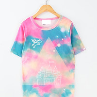 Gradient rainbow castle pink horse t-shirt