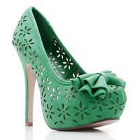 flower cut-out bow platforms $29.30 in BEIGE BLACK CORAL GREEN - Heels | GoJane.com