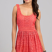 Short Sleeveless Lace Casual Dress