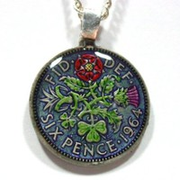 "Genuine 1964 sixpence 6d hand Painted Pendant on 18"" Chain - blue"