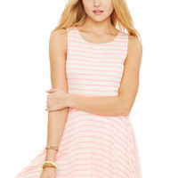 Mini Stripe Lace Back Skater Dress
