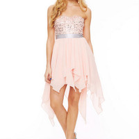 Sequin High-Low Chiffon Dress