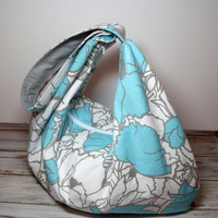 Beach Hobo Bag - Summer Slouchy Bag - Aqua Gray - Floral - Over the Shoulder Bag - Large Zipper Purse