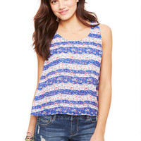 Split Back Stripe Floral Tank