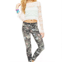 Liv High-Rise Jegging in Black Floral Washed Down Aztec