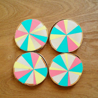 Colorful hand painted drink coasters, Set of four Birch wood coasters