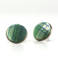Scottish Tartan Stud Earrings - Earring Studs - Green, Blue and Beige Plaid Fabric Buttons Jewelry - Green Earring Posts