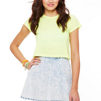 Acid Washed Chambray Skater Skirt
