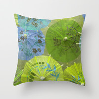 Parasols Blueberry Lime Throw Pillow by Lisa Argyropoulos