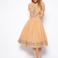 ASOS Premium Midi Skater Dress With Pretty Embroidery