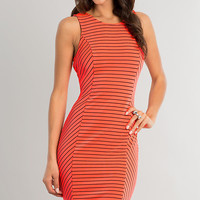 Knee Length Sleeveless Striped Dress
