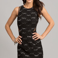 Short Sleeveless Black Lace Dress