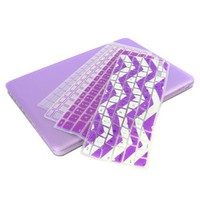 """UHURU Great Deal Bundle for Apple Macbook Air 11"""" / 13"""" - Ultra Slim Rubberized Hard Case + 4 Different Styles Silicone TPU Chevron Keyboard Covers (Macbook Air 11"""" A1370 / A1465, Purple)"""