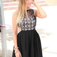Black Sleeveless Dress with Sequin Flowers