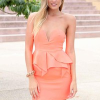Peach Sweetheart Peplum w Removable Straps
