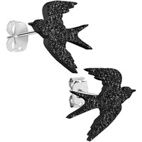 Black Onyx Glitter Sparrow Stud Earrings | Body Candy Body Jewelry