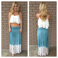 Blue & Pink Destin Tie Dye Maxi Skirt