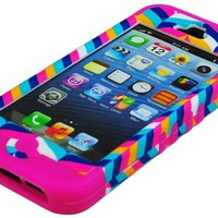 Bastex High Impact Hybrid Case for Apple iPhone 5, 5th Generation - Hot Pink Silicone with Hard Chevron Fishtail Design
