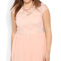 Plus Size Daisy Lace A-Line Dress with Cap Sleeves and Illusion Back