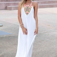 White Embroidered Neck T-Back Maxi Dress