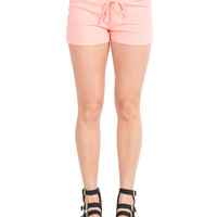 Neon Drawstring Terry Shorts - Neon Orange