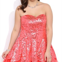 Plus Size Sequin Short Prom Dress with Tulip Skirt, Exposed Crinoline