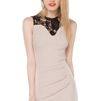 Asymmetrical Lace Collar Bodycon Dress