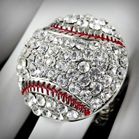 Rhinestone Baseball Stitch Ring (Stretch Fit)