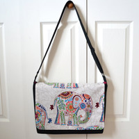 Messenger Bag, Sling Bag, Bohemian, Elephants, Floral, Colorful, Crossbody Bag, School Bag