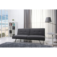 Jacksonville Gray Fabric Futon Sofa Bed