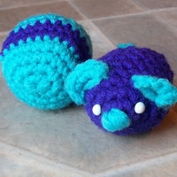 Organic catnip filled plush mouse, kitten toys, purple and turquoise
