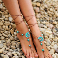 Beach wedding Seashells Tan and Aqua Crochet bridal Barefoot Sandals, Nude shoes, Bridal foot jewelry, Turquoise gemstone Anklet