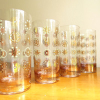 Vintage Starburst Glasses, Mid Century Glasses, Set of Four, Barware, 1960s, Gold