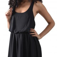 Black Mini Dress with Criss Cross Back