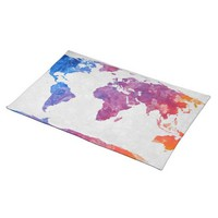 Acrylic World Map Colorful Art Table Placemat
