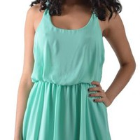 Mint Mini Dress with Criss Cross Back
