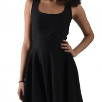 Black Microfiber Sleeveless Dress with Flared Skirt
