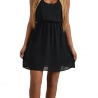 Black Day Dress with Stringy Racerback