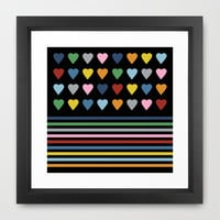 Heart Stripes Black Framed Art Print by Project M
