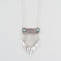 FULL TILT Turquoise Bar Chain Fringe Necklace