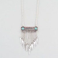 Full Tilt Turquoise Bar Chain Fringe Necklace Silver One Size For Women 23415114001