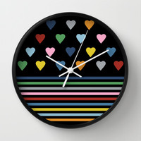 Heart Stripes Black Wall Clock by Project M