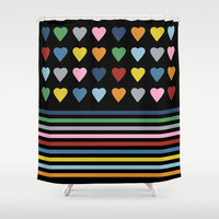 Heart Stripes Black Shower Curtain by Project M