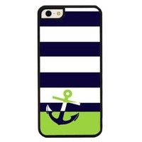 Embossed Nautical Anchor Striped Phone Shell Case for Iphone5/5s