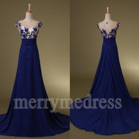 Dark Royal Blue Beads Lace Applique Sheer Straps Long Celebrity Dress, Chiffon Formal Evening Party Prom Dress New Homecoming Dress