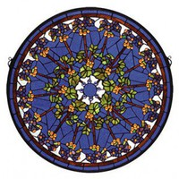 Meyda Tiffany Violet Rosette Medallion Stained Glass Window - 71269 - Decor
