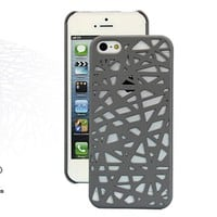 MagicPieces Cut Out Mesh Hard Protective Snap On Colorful Case for iPhone 5 Grey