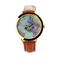 ZLYC Vintage Travel Around World Map Leather Watch