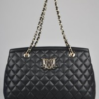 Moschino Medium Quilted Tote Bag - Black